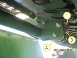 As polias da frente devem entrar em contato firme com as correias de prensa na parte inferior no rolo.