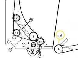 Veja o desenvolvimento do algodão atras do rolo #9 como visto da retaguarda.